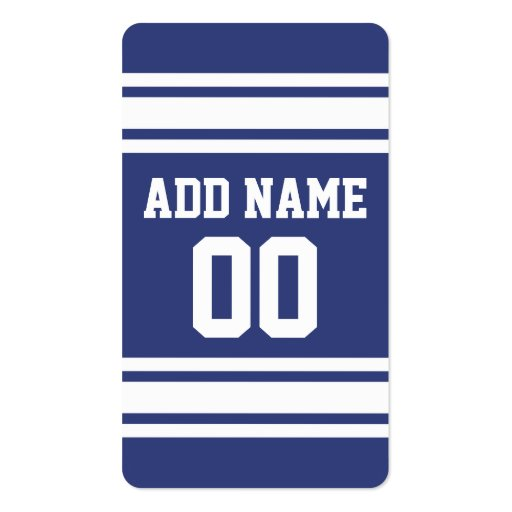 Blue and White Stripes with Name and Number Business Card Templates