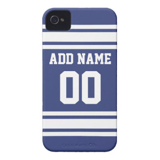 Blue and White Stripes with Name and Number iPhone 4 Case