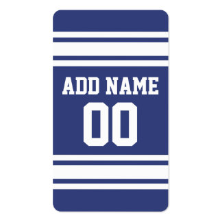 Blue and White Stripes with Name and Number Pack Of Standard Business Cards