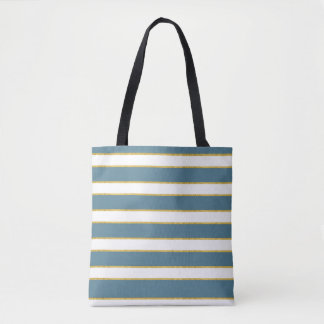Blue and White Stripes with Touch of Gold Tote Bag