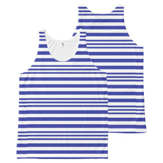Blue and White Stripes X 3 All-Over Print Singlet