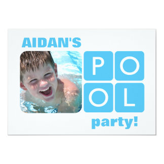 Blue and White Summer Pool Party Photo Invitation