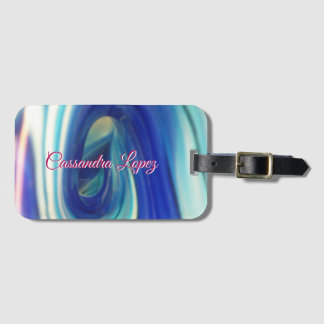 Blue and White Swirl Pattern Luggage Tag