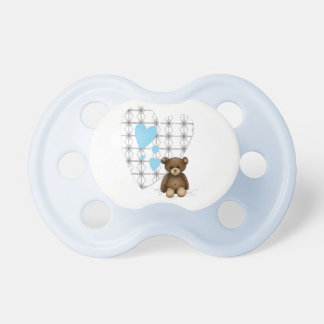 Blue and white teat with hearts and teddy pacifiers
