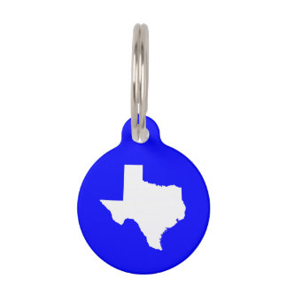 Blue and White Texas Pet ID Tag