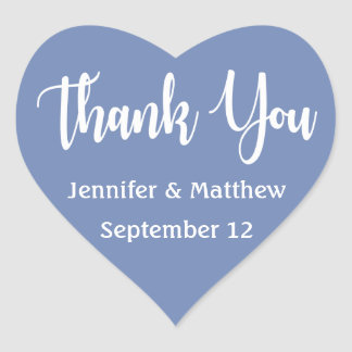 Blue And White Thank You Wedding Party Heart Sticker
