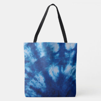 Blue and White Tie Dye Tote Bag