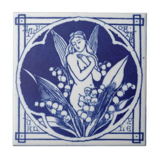 Blue and White Tile c1875 Mintons Vintage Design