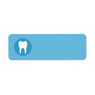 Blue and white tooth logo dentist dental blank return address label