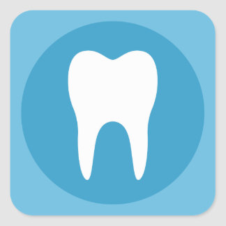 Blue and white tooth logo dentist dental modern square sticker