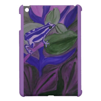 Blue and white tree frog on a purple background. case for the iPad mini