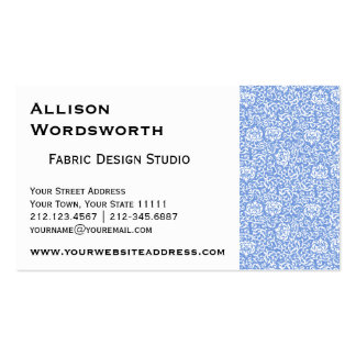 Blue and White Tudor Damask Floral Double-Sided Standard Business Cards (Pack Of 100)