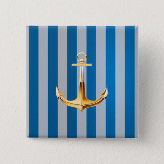 Blue and White  Vertical Lines and Gold Anchor 15 Cm Square Badge