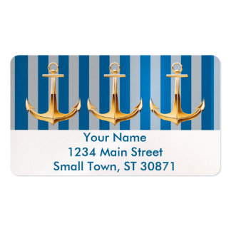 Blue and White  Vertical Lines and Gold Anchor Double-Sided Standard Business Cards (Pack Of 100)