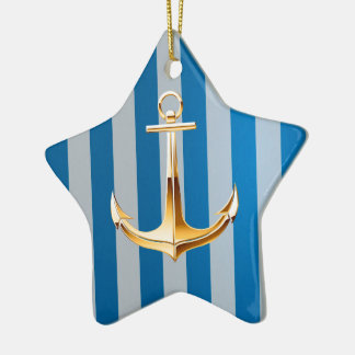 Blue and White  Vertical Lines and Gold Anchor Ceramic Star Decoration