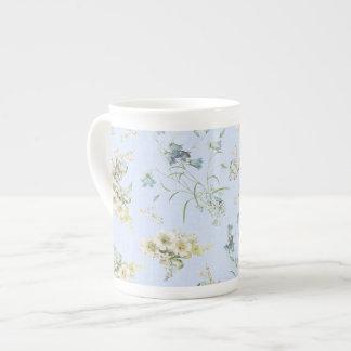 Blue and white vintage floral print bone china mug