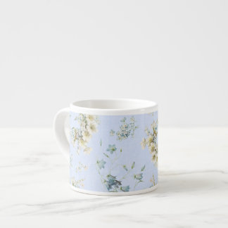 Blue and white vintage floral print espresso mug