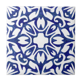 Blue and White Watercolor Spanish Pattern Ceramic Tile