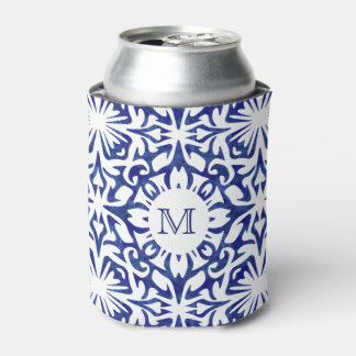 Blue and White Watercolor Spanish Tile Monogram Can Cooler