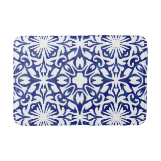 Blue and White Watercolor Spanish Tile Pattern Bath Mat