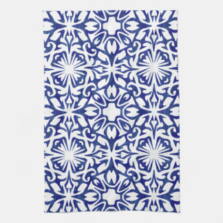 Blue and White Watercolor Spanish Tile Pattern Tea Towel