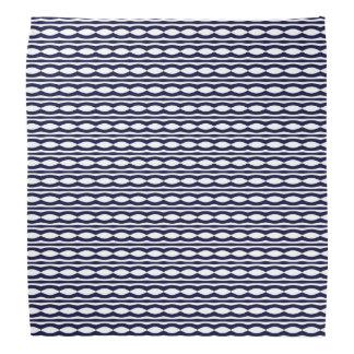 Blue And White Wavy Stripes Retro Pattern Bandana