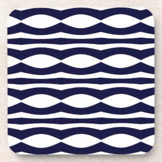 Blue And White Wavy Stripes Retro Pattern Coaster