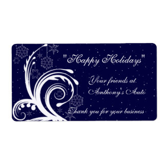Blue and White Wedding,  Happy Holidays Wine Label
