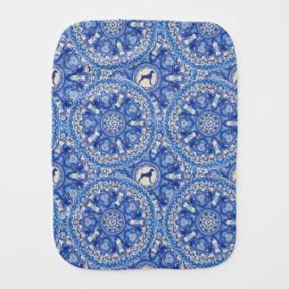 BLUE AND WHITE WEIM BABY BURP CLOTH BY BLU WEIM