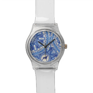 BLUE AND WHITE WEIM WATCH CLEAR BAND