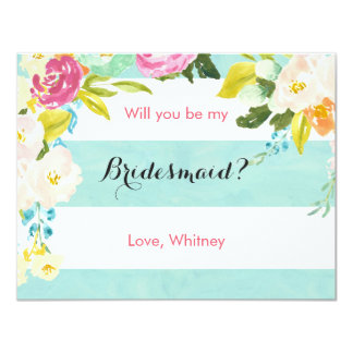 Blue and White Will You Be My Bridesmaid Card