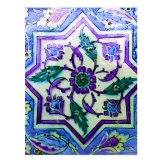 Blue and White with hints of Purple Iznik tile Postcard