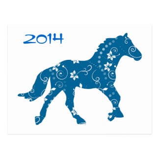 Blue and White Year of the Horse Postcard