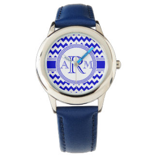 Blue and White ZigZag Chevron Monogram Watch