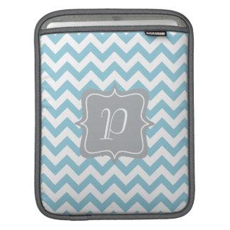 Blue and White Zigzag Monogram iPad Sleeves
