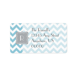Blue and White Zigzag Monogram Label