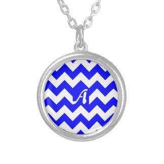 Blue and White Zigzag Monogram Pendants