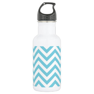Blue and White Zigzag Stripes Chevron Pattern 532 Ml Water Bottle