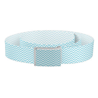 Blue and White Zigzag Stripes Chevron Pattern Belt