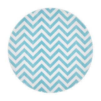 Blue and White Zigzag Stripes Chevron Pattern Cutting Board