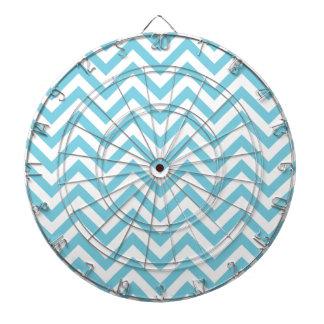 Blue and White Zigzag Stripes Chevron Pattern Dartboard