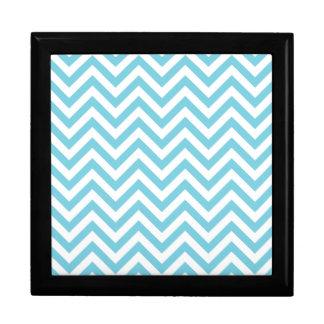 Blue and White Zigzag Stripes Chevron Pattern Gift Box