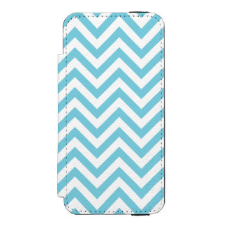Blue and White Zigzag Stripes Chevron Pattern Incipio Watson™ iPhone 5 Wallet Case
