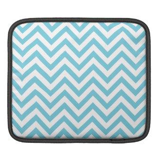 Blue and White Zigzag Stripes Chevron Pattern iPad Sleeve