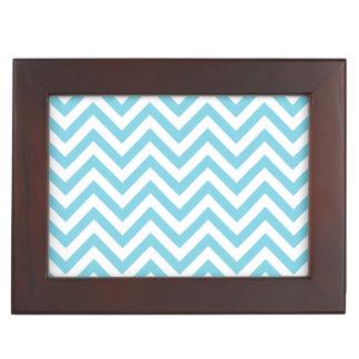 Blue and White Zigzag Stripes Chevron Pattern Keepsake Box