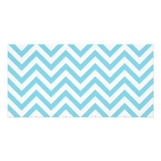 Blue and White Zigzag Stripes Chevron Pattern Personalised Photo Card