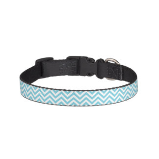 Blue and White Zigzag Stripes Chevron Pattern Pet Collar