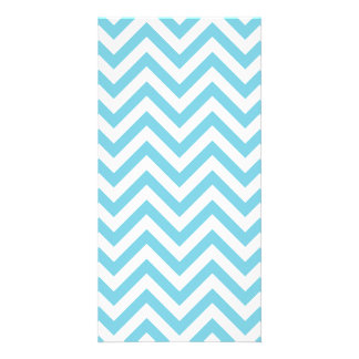 Blue and White Zigzag Stripes Chevron Pattern Photo Greeting Card