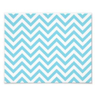 Blue and White Zigzag Stripes Chevron Pattern Photo Print