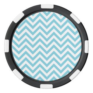 Blue and White Zigzag Stripes Chevron Pattern Poker Chips